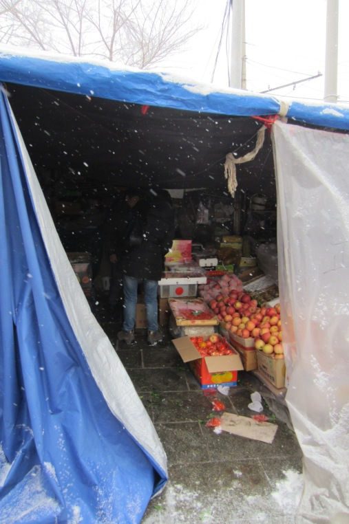 Their stall at the side of the road